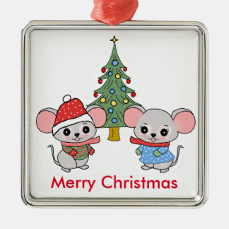 mice of Christmas Silver-Colored Square Decoration