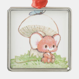 Mice Summertime Daydreaming Silver-Colored Square Decoration