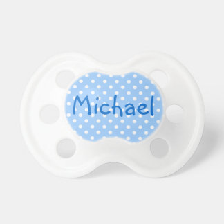 Michael Blue and White Polka Dot Baby Pacifier