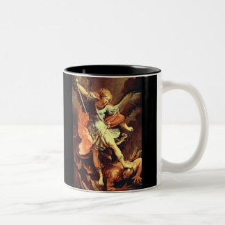 Michael the Archangel Defeats the Devil Two-Tone Coffee Mug