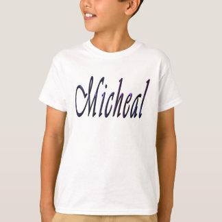 Micheal, Name, Logo, Boys White T-shirt