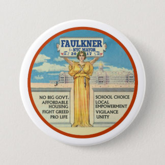 Michel Faulkner for New York City Mayor 2017 7.5 Cm Round Badge