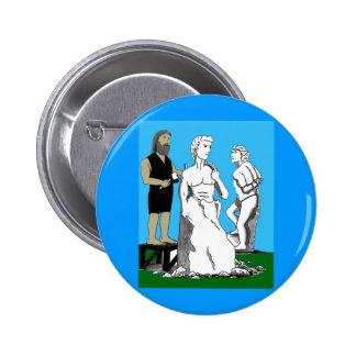 Michelangelo Carving David 6 Cm Round Badge