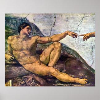 Michelangelo - Creation of Adam detail Posters