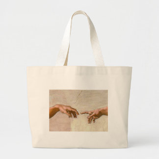 Michelangelo Creation of Adam - Touching Fingers Jumbo Tote Bag