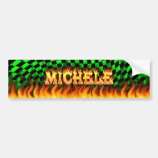 Michele real fire and flames bumper sticker design