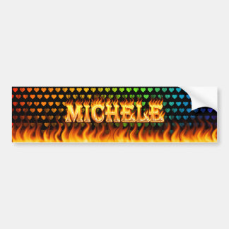 Michele real fire and flames bumper sticker design