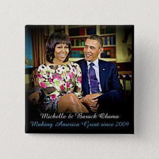 Michelle & Barack Obama, Making America Great 15 Cm Square Badge