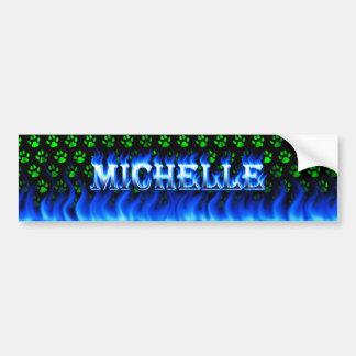 Michelle blue fire and flames bumper sticker desig