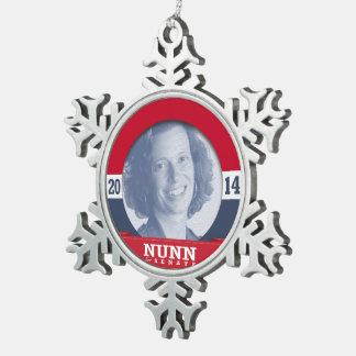 MICHELLE NUNN CAMPAIGN SNOWFLAKE PEWTER CHRISTMAS ORNAMENT