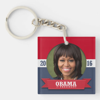 MICHELLE OBAMA 2016 Double-Sided SQUARE ACRYLIC KEYCHAIN