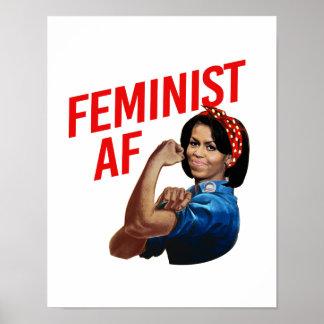 Michelle Obama - Feminist AF - red --  Poster