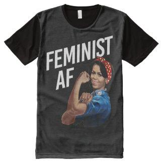 Michelle Obama - Feminist AF - white --  All-Over Print T-Shirt
