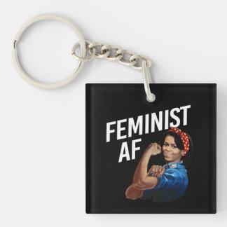 Michelle Obama - Feminist AF - white --  Single-Sided Square Acrylic Key Ring