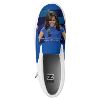 "Michelle Obama ""We Go High"" Slip On Sneakers Shoes"