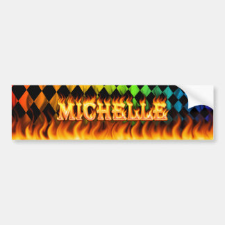 Michelle real fire and flames bumper sticker desig