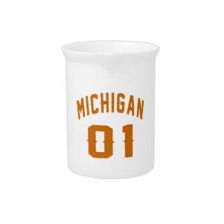 Michigan 01 Birthday Designs Beverage Pitcher