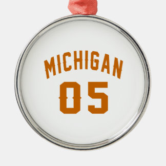 Michigan 05 Birthday Designs Silver-Colored Round Decoration