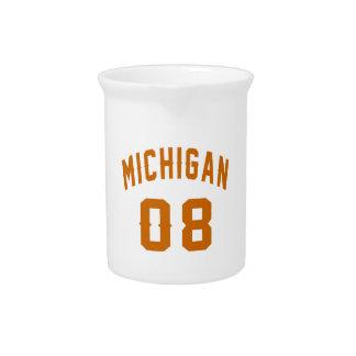 Michigan 08 Birthday Designs Drink Pitchers