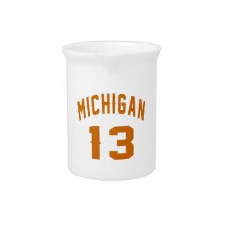 Michigan 13 Birthday Designs Pitcher