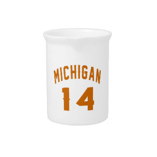 Michigan 14 Birthday Designs Pitcher