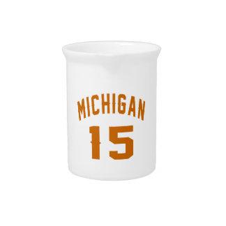 Michigan 15 Birthday Designs Beverage Pitcher