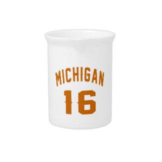 Michigan 16 Birthday Designs Beverage Pitchers