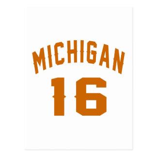Michigan 16 Birthday Designs Postcard