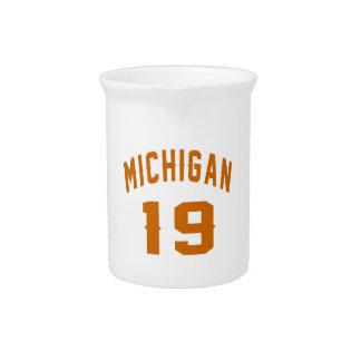 Michigan 19 Birthday Designs Beverage Pitcher