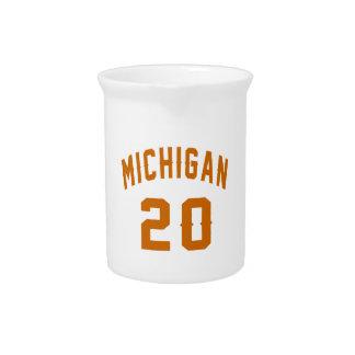 Michigan 20 Birthday Designs Beverage Pitcher