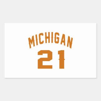 Michigan 21 Birthday Designs Rectangular Sticker