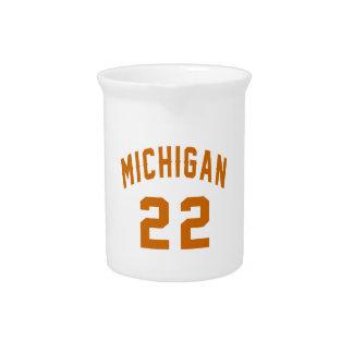 Michigan 22 Birthday Designs Drink Pitcher