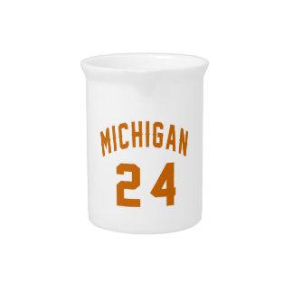Michigan 24 Birthday Designs Beverage Pitcher