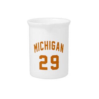 Michigan 29 Birthday Designs Beverage Pitcher