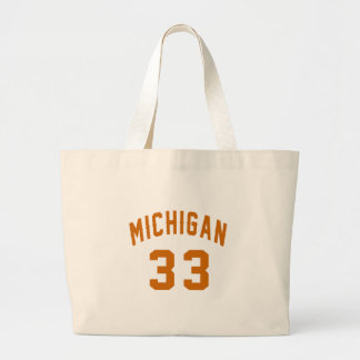 Michigan 33 Birthday Designs Large Tote Bag