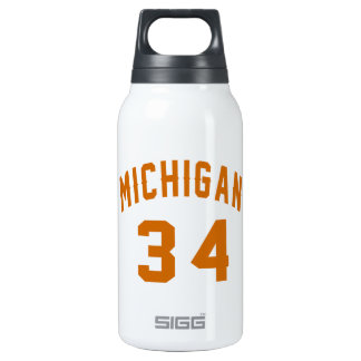 Michigan 34 Birthday Designs Insulated Water Bottle