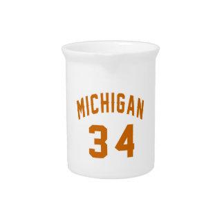 Michigan 34 Birthday Designs Pitchers