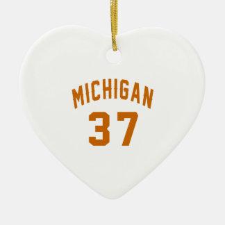 Michigan 37 Birthday Designs Ceramic Heart Decoration