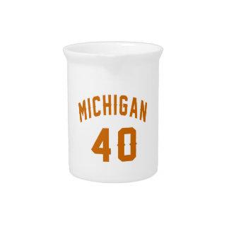 Michigan 40 Birthday Designs Drink Pitcher