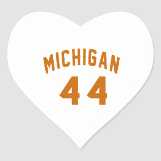 Michigan 44 Birthday Designs Heart Sticker