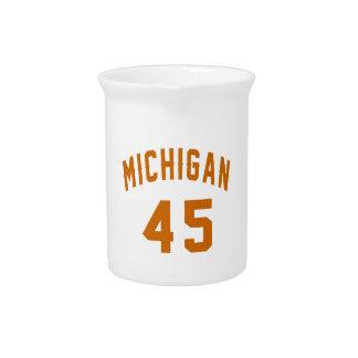 Michigan 45 Birthday Designs Beverage Pitchers