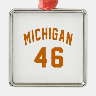 Michigan 46 Birthday Designs Silver-Colored Square Decoration