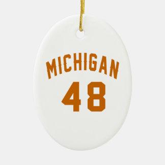 Michigan 48 Birthday Designs Ceramic Oval Decoration