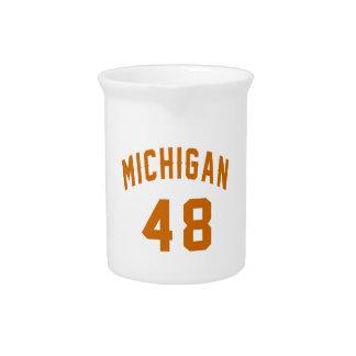 Michigan 48 Birthday Designs Drink Pitcher