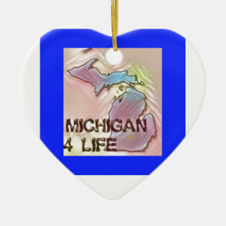 """Michigan 4 Life"" State Map Pride Design Ceramic Heart Decoration"