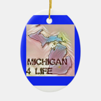 """Michigan 4 Life"" State Map Pride Design Ceramic Oval Decoration"