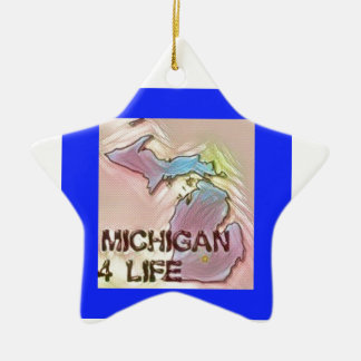 """Michigan 4 Life"" State Map Pride Design Ceramic Star Decoration"