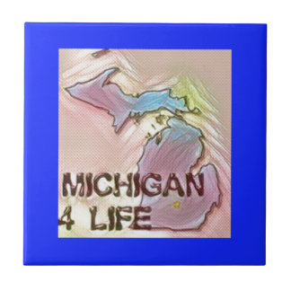 """Michigan 4 Life"" State Map Pride Design Ceramic Tile"
