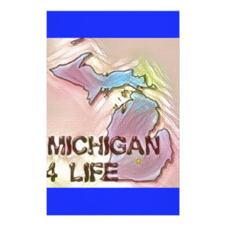 """""""Michigan 4 Life"""" State Map Pride Design Customised Stationery"""