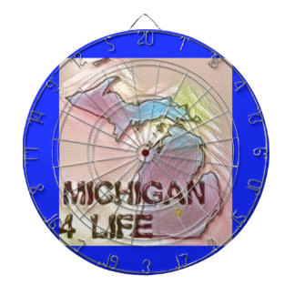 """Michigan 4 Life"" State Map Pride Design Dartboard"
